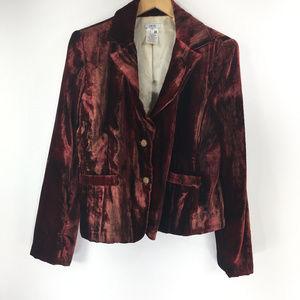 Cache 12 Maroon Velvet Velour Blazer Jacket